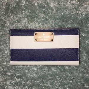 Kate ♠️ White/Navy Striped Wallet